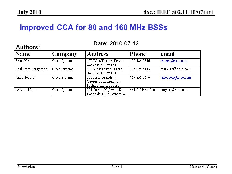 doc.: IEEE 802.11-10/0744r1 Submission July 2010 Hart et al (Cisco)Slide 2 Outline Problem Statement Coexistence mechanisms Lets choose a CCA better suited to wider bandwidths Lets explore a new coexistence technique: Receiver CCA Summary