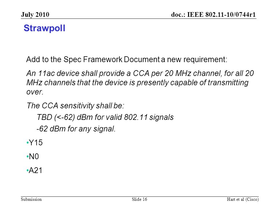 doc.: IEEE 802.11-10/0744r1 Submission July 2010 Hart et al (Cisco)Slide 16 Strawpoll Add to the Spec Framework Document a new requirement: An 11ac de