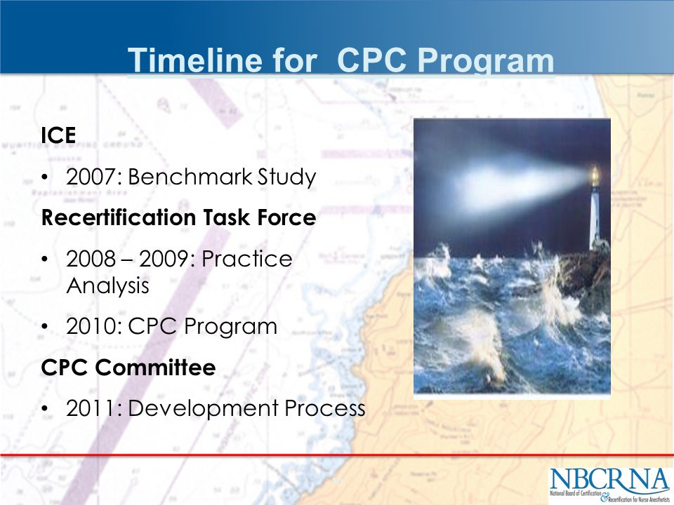 ICE 2007: Benchmark Study Recertification Task Force 2008 – 2009: Practice Analysis 2010: CPC Program CPC Committee 2011: Development Process 10