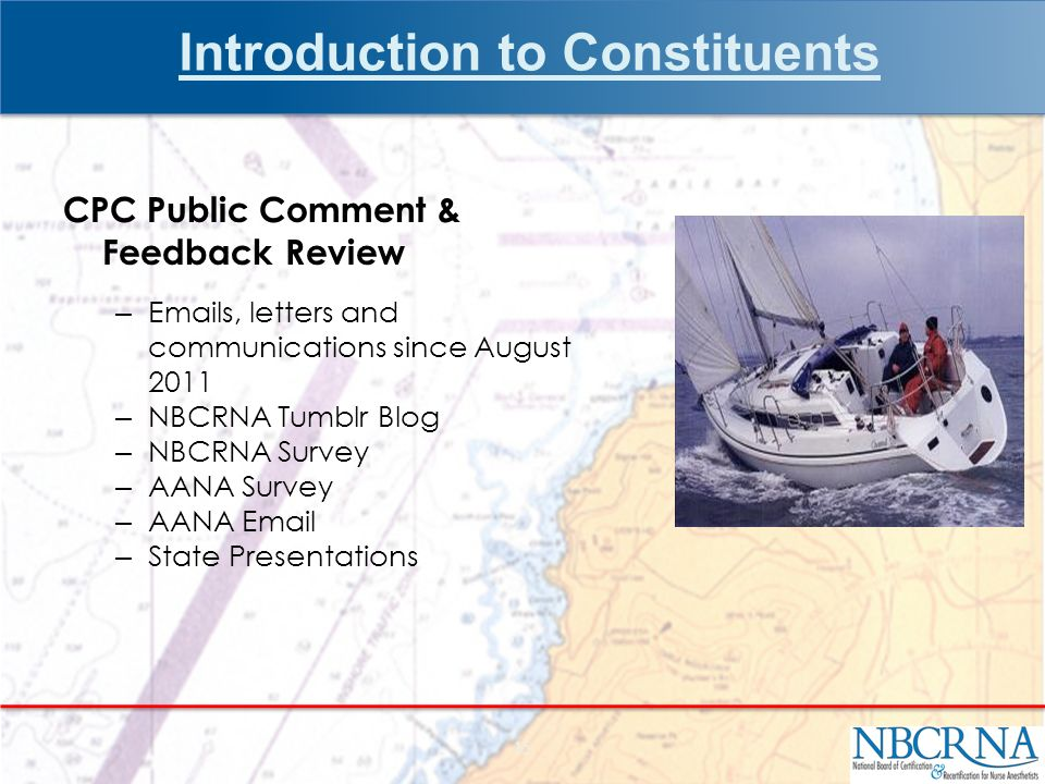 Introduction to Constituents CPC Public Comment & Feedback Review –  s, letters and communications since August 2011 – NBCRNA Tumblr Blog – NBCRNA Survey – AANA Survey – AANA  – State Presentations 15