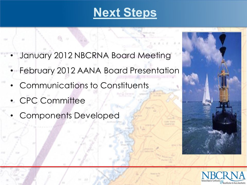 Next Steps January 2012 NBCRNA Board Meeting February 2012 AANA Board Presentation Communications to Constituents CPC Committee Components Developed 26