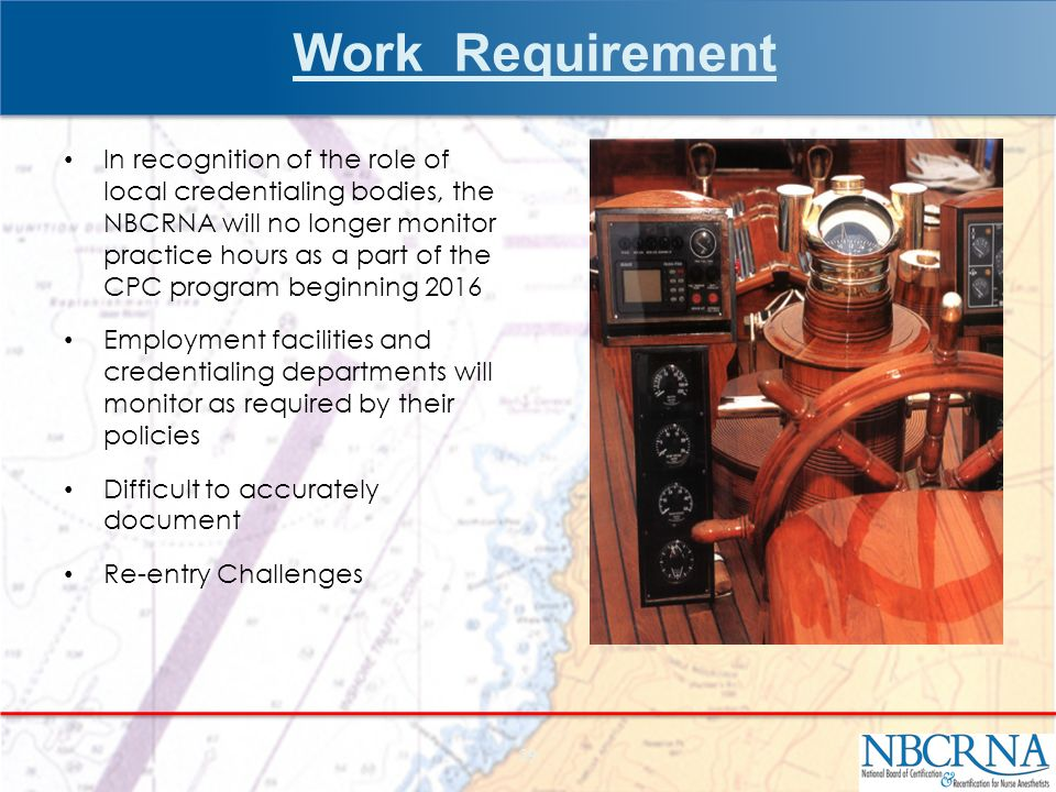 Work Requirement In recognition of the role of local credentialing bodies, the NBCRNA will no longer monitor practice hours as a part of the CPC program beginning 2016 Employment facilities and credentialing departments will monitor as required by their policies Difficult to accurately document Re-entry Challenges 29
