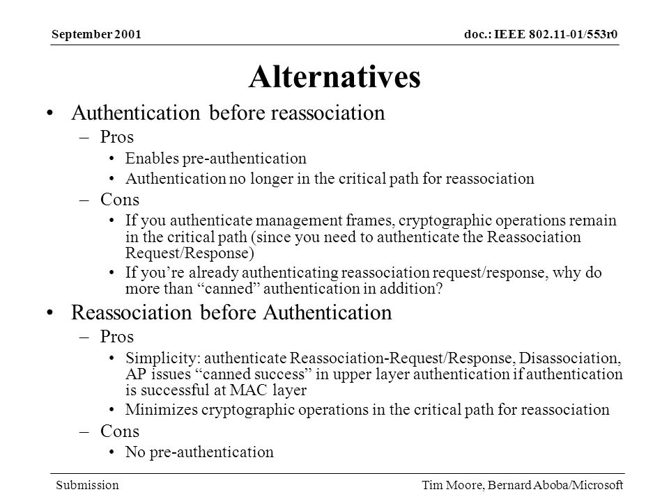 doc.: IEEE /553r0 Submission September 2001 Tim Moore, Bernard Aboba/Microsoft Alternatives Authentication before reassociation –Pros Enables pre-authentication Authentication no longer in the critical path for reassociation –Cons If you authenticate management frames, cryptographic operations remain in the critical path (since you need to authenticate the Reassociation Request/Response) If youre already authenticating reassociation request/response, why do more than canned authentication in addition.
