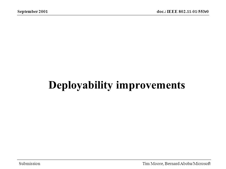 doc.: IEEE /553r0 Submission September 2001 Tim Moore, Bernard Aboba/Microsoft Deployability improvements