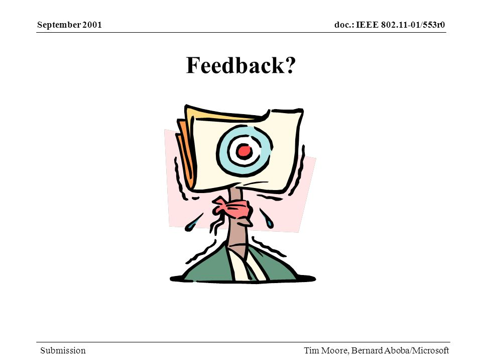 doc.: IEEE 802.11-01/553r0 Submission September 2001 Tim Moore, Bernard Aboba/Microsoft Feedback?