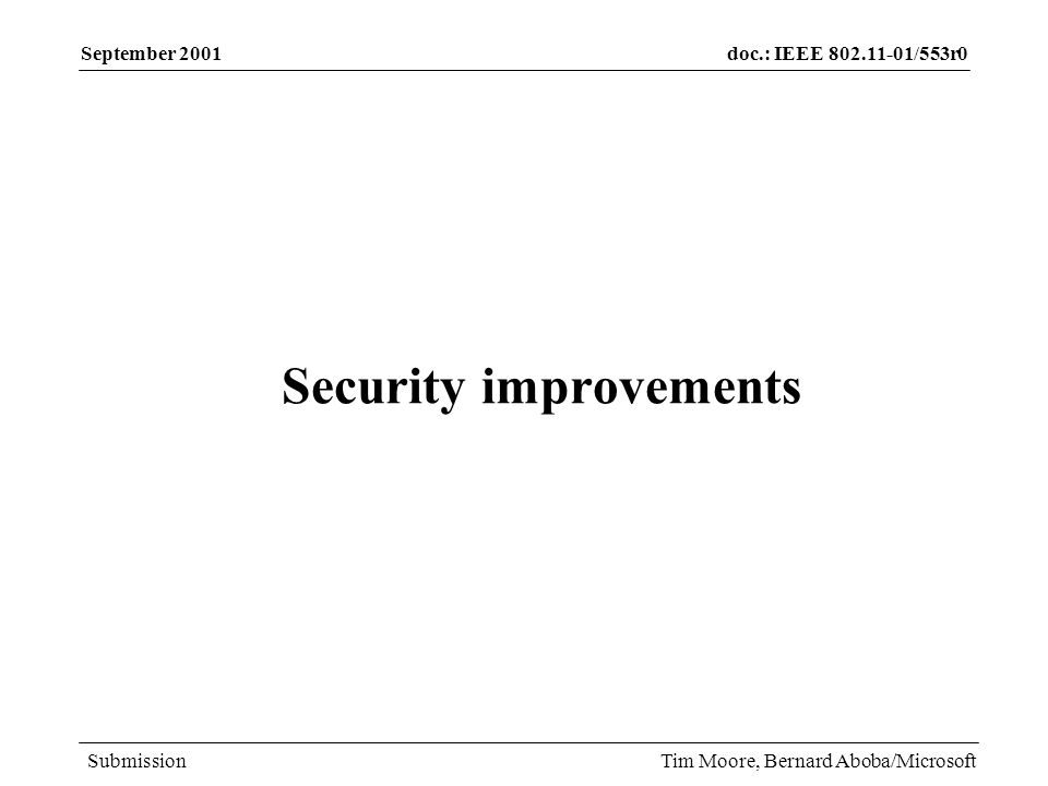 doc.: IEEE /553r0 Submission September 2001 Tim Moore, Bernard Aboba/Microsoft Security improvements