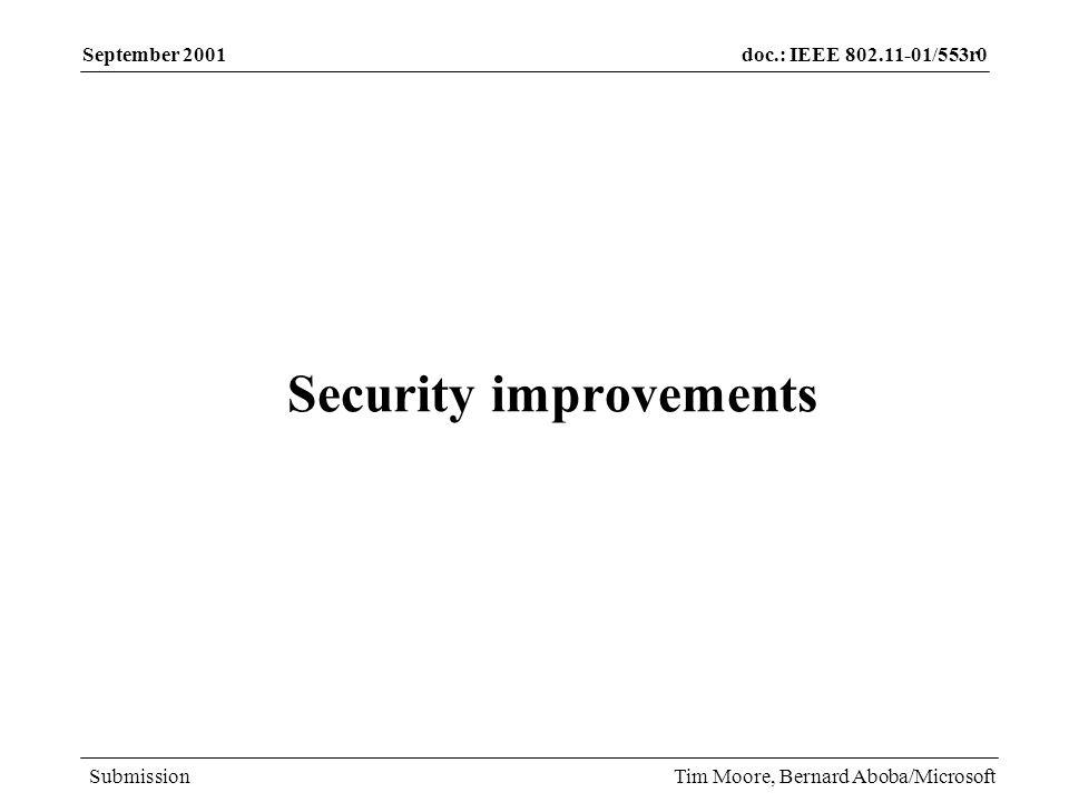 doc.: IEEE 802.11-01/553r0 Submission September 2001 Tim Moore, Bernard Aboba/Microsoft Feedback?