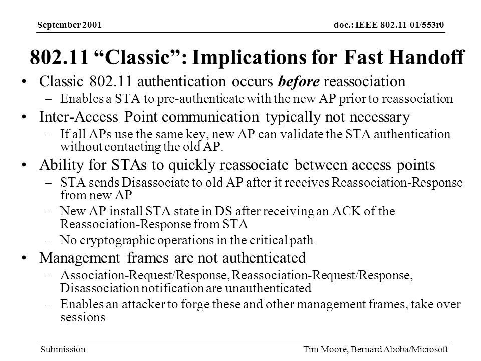 doc.: IEEE 802.11-01/553r0 Submission September 2001 Tim Moore, Bernard Aboba/Microsoft The Registration Problem New AP contacts the old AP via IAPP to validate the reauthentication- request, transfer context IAPP runs over IP –Implication: New AP needs the IP address of the old AP in order to communicate with it 802.11 enables the STA to obtain the MAC address of the old & new APs –Client obtains the MAC address of the old AP when it associates/re- associates with it –Client provides the new AP with the MAC address of the old AP in the re-association request But how does the new AP locate the old AP IP address.