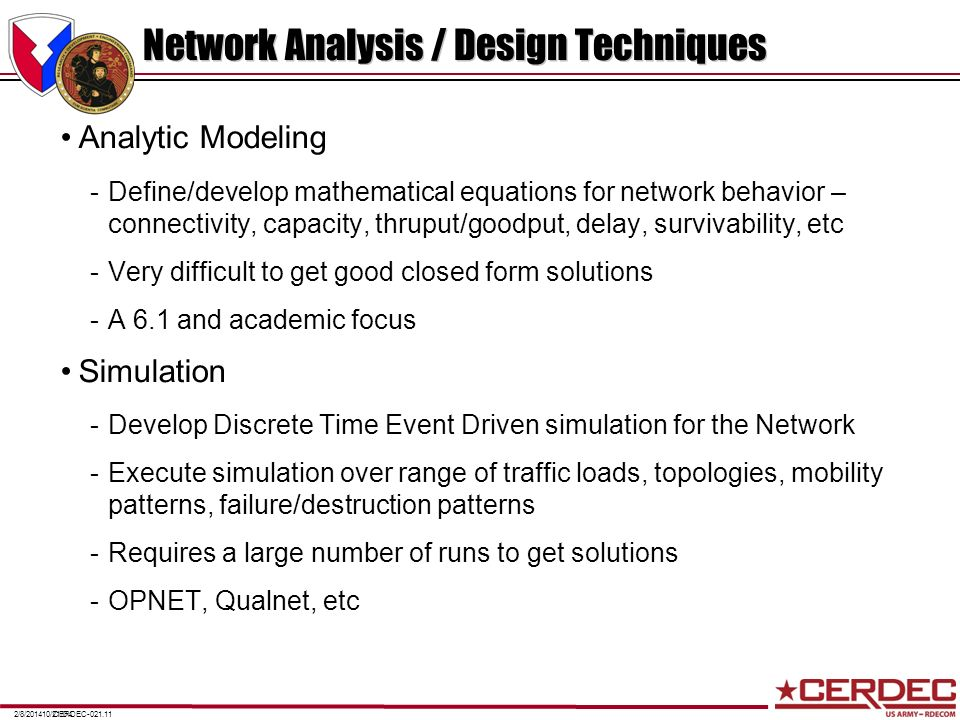 CERDEC-021.112/8/201410/21/04 Network Analysis / Design Techniques Analytic Modeling -Define/develop mathematical equations for network behavior – con