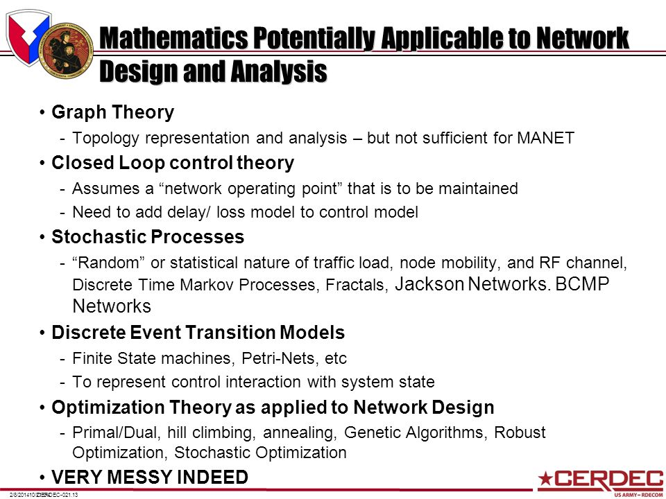 CERDEC-021.132/8/201410/21/04 Mathematics Potentially Applicable to Network Design and Analysis Graph Theory -Topology representation and analysis – b