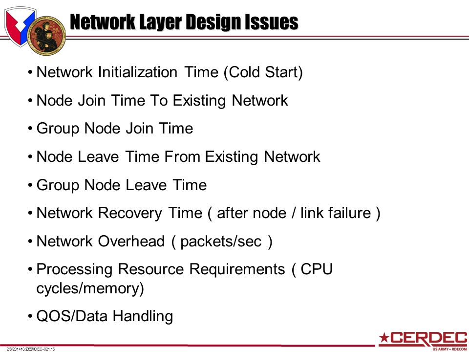CERDEC-021.162/8/201410/21/04 Network Layer Design Issues Network Initialization Time (Cold Start) Node Join Time To Existing Network Group Node Join