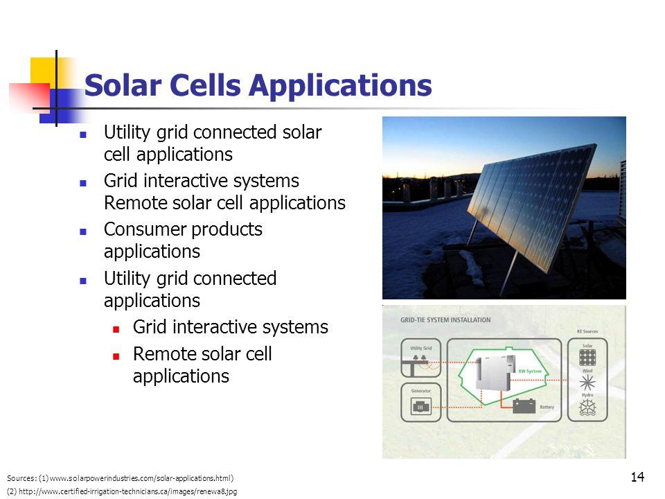 14 Solar Cells Applications Utility grid connected solar cell applications Grid interactive systems Remote solar cell applications Consumer products a