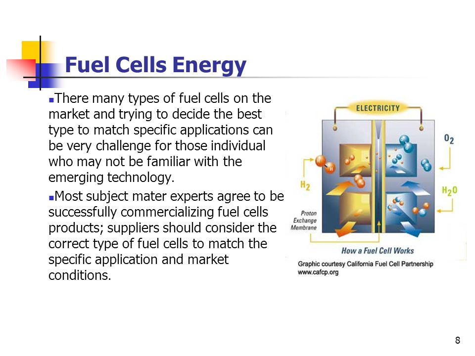 8 Fuel Cells Energy There many types of fuel cells on the market and trying to decide the best type to match specific applications can be very challen