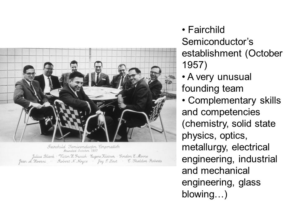 Fairchild Semiconductors establishment (October 1957) A very unusual founding team Complementary skills and competencies (chemistry, solid state physi