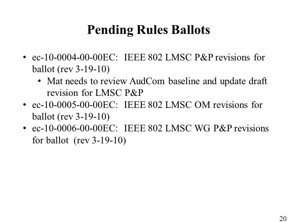 ec-10-0004-00-00EC: IEEE 802 LMSC P&P revisions for ballot (rev 3-19-10) Mat needs to review AudCom baseline and update draft revision for LMSC P&P ec-10-0005-00-00EC: IEEE 802 LMSC OM revisions for ballot (rev 3-19-10) ec-10-0006-00-00EC: IEEE 802 LMSC WG P&P revisions for ballot (rev 3-19-10) Pending Rules Ballots 20