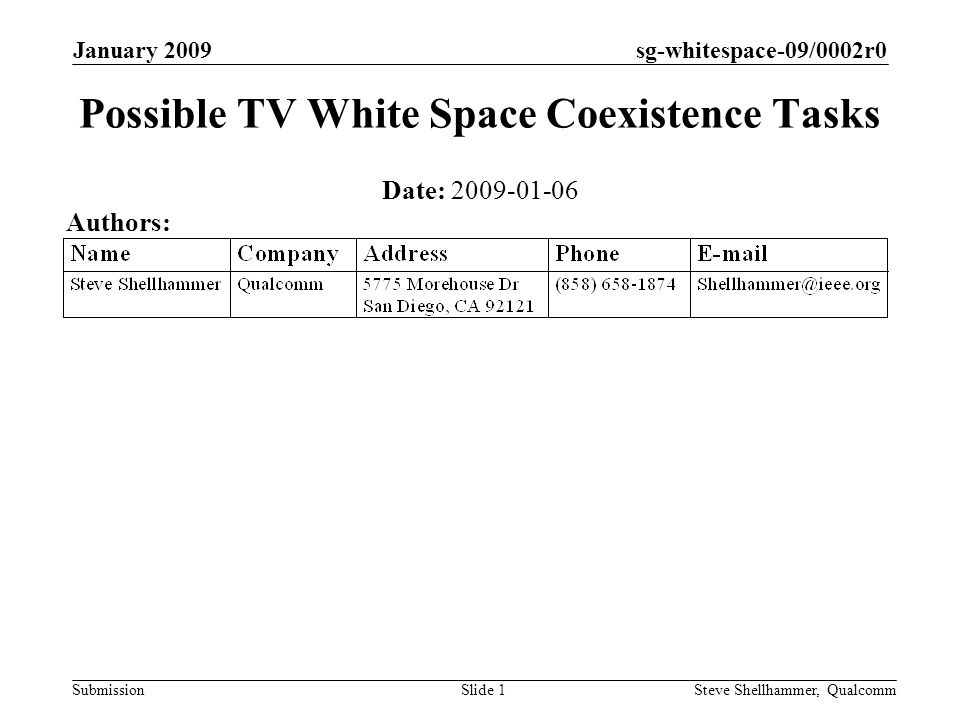 sg-whitespace-09/0002r0 Submission January 2009 Steve Shellhammer, QualcommSlide 1 Possible TV White Space Coexistence Tasks Date: Authors: