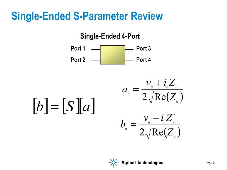 Page 16 Port 1 Port 2 Port 3 Port 4 Single-Ended 4-Port Single-Ended S-Parameter Review