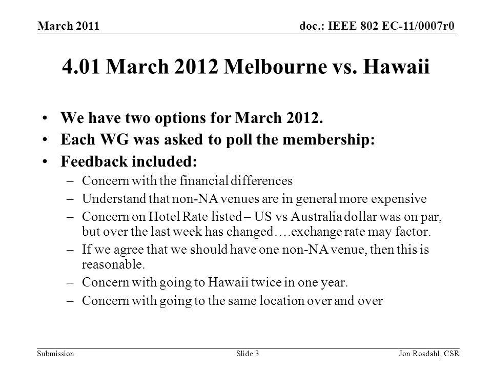 doc.: IEEE 802 EC-11/0007r0 Submission March 2011 Jon Rosdahl, CSRSlide 4 Venue Options – March 2012 Agenda Item 4.01