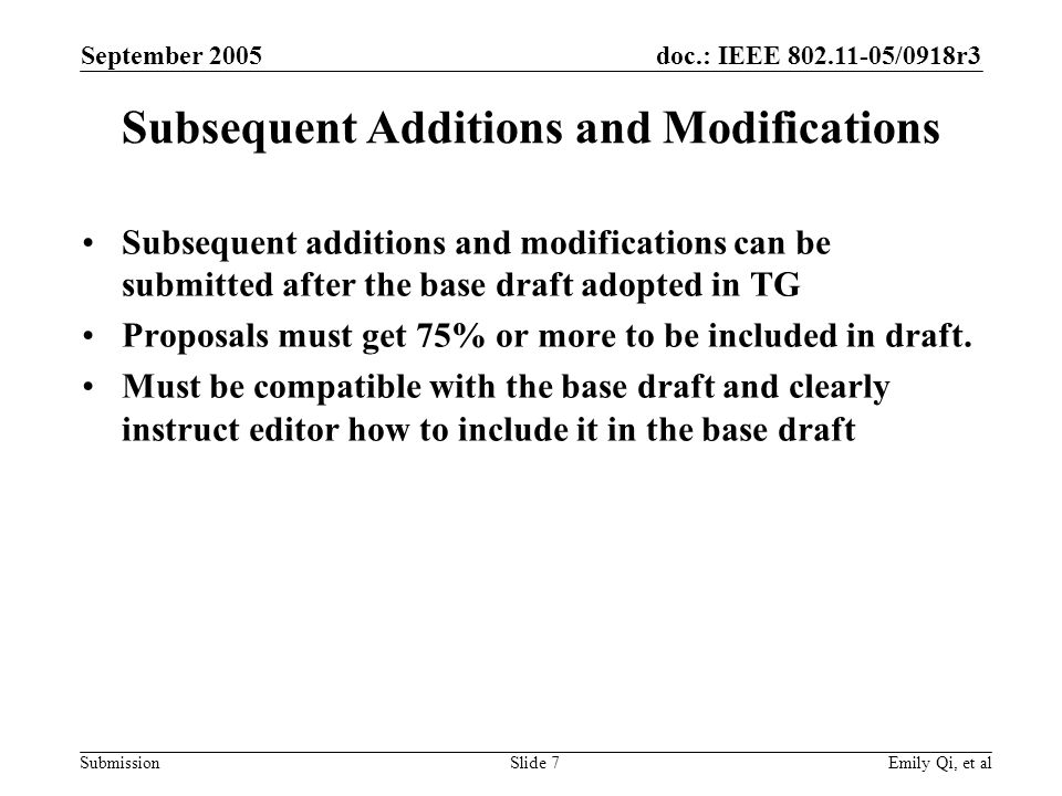 doc.: IEEE 802.11-05/0918r3 Submission September 2005 Emily Qi, et alSlide 7 Subsequent Additions and Modifications Subsequent additions and modificat