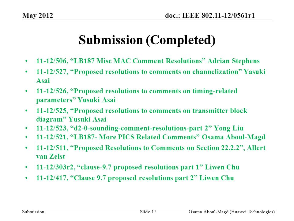 doc.: IEEE 802.11-12/0561r1 Submission Submission (Completed) 11-12/506, LB187 Misc MAC Comment Resolutions Adrian Stephens 11-12/527, Proposed resolutions to comments on channelization Yasuki Asai 11-12/526, Proposed resolutions to comments on timing-related parameters Yusuki Asai 11-12/525, Proposed resolutions to comments on transmitter block diagram Yusuki Asai 11-12/523, d2-0-sounding-comment-resolutions-part 2 Yong Liu 11-12/521, LB187- More PICS Related Comments Osama Aboul-Magd 11-12/511, Proposed Resolutions to Comments on Section 22.2.2, Allert van Zelst 11-12/303r2, clause-9.7 proposed resolutions part 1 Liwen Chu 11-12/417, Clause 9.7 proposed resolutions part 2 Liwen Chu May 2012 Osama Aboul-Magd (Huawei Technologies)Slide 17
