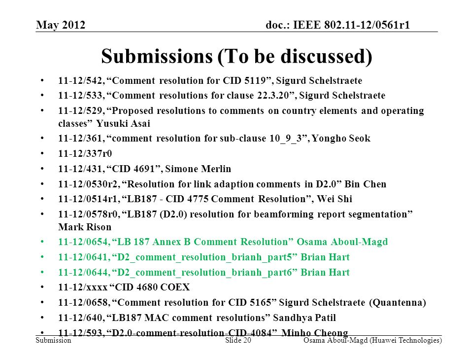 doc.: IEEE 802.11-12/0561r1 Submission Submissions (To be discussed) 11-12/542, Comment resolution for CID 5119, Sigurd Schelstraete 11-12/533, Comment resolutions for clause 22.3.20, Sigurd Schelstraete 11-12/529, Proposed resolutions to comments on country elements and operating classes Yusuki Asai 11-12/361, comment resolution for sub-clause 10_9_3, Yongho Seok 11-12/337r0 11-12/431, CID 4691, Simone Merlin 11-12/0530r2, Resolution for link adaption comments in D2.0 Bin Chen 11-12/0514r1, LB187 - CID 4775 Comment Resolution, Wei Shi 11-12/0578r0, LB187 (D2.0) resolution for beamforming report segmentation Mark Rison 11-12/0654, LB 187 Annex B Comment Resolution Osama Aboul-Magd 11-12/0641, D2_comment_resolution_brianh_part5 Brian Hart 11-12/0644, D2_comment_resolution_brianh_part6 Brian Hart 11-12/xxxx CID 4680 COEX 11-12/0658, Comment resolution for CID 5165 Sigurd Schelstraete (Quantenna) 11-12/640, LB187 MAC comment resolutions Sandhya Patil 11-12/593, D2.0-comment-resolution-CID-4084 Minho Cheong May 2012 Osama Aboul-Magd (Huawei Technologies)Slide 20