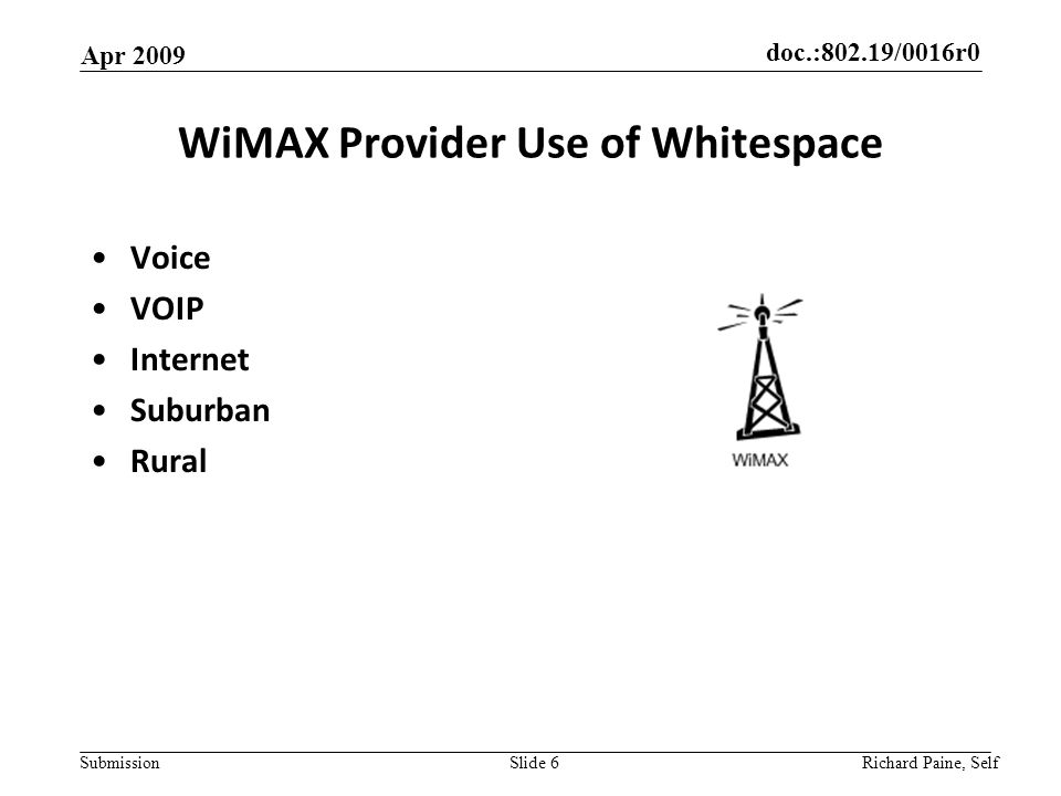 doc.:802.19/0016r0 Submission WiMAX Provider Use of Whitespace Voice VOIP Internet Suburban Rural Apr 2009 Richard Paine, Self Slide 6