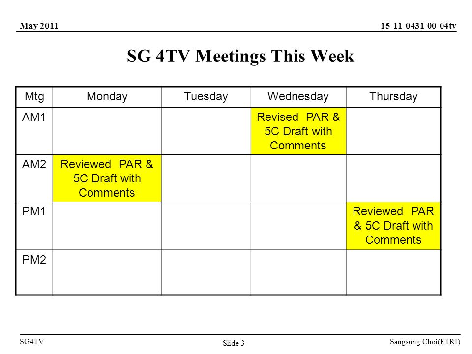 Sangsung Choi(ETRI) tv SG4TV May 2011 Slide 3 SG 4TV Meetings This Week MtgMondayTuesdayWednesdayThursday AM1Revised PAR & 5C Draft with Comments AM2Reviewed PAR & 5C Draft with Comments PM1Reviewed PAR & 5C Draft with Comments PM2
