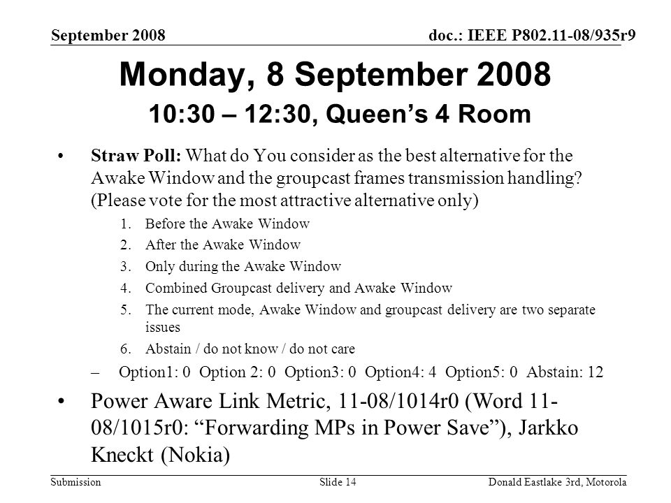 doc.: IEEE P802.11-08/935r9 Submission September 2008 Donald Eastlake 3rd, MotorolaSlide 14 Monday, 8 September 2008 10:30 – 12:30, Queens 4 Room Stra