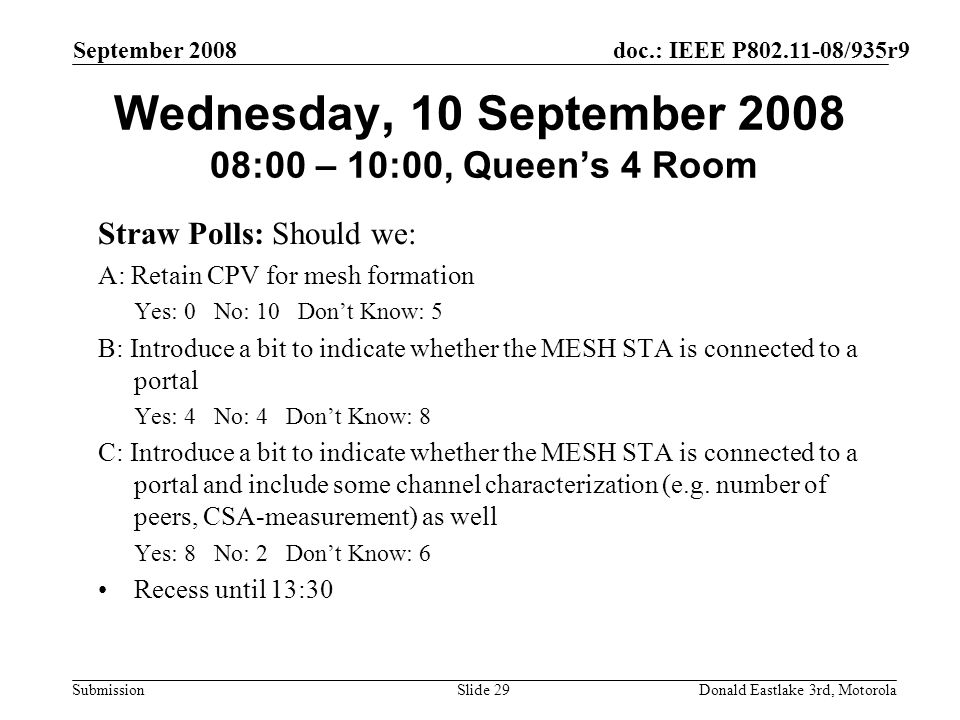 doc.: IEEE P802.11-08/935r9 Submission September 2008 Donald Eastlake 3rd, MotorolaSlide 29 Wednesday, 10 September 2008 08:00 – 10:00, Queens 4 Room