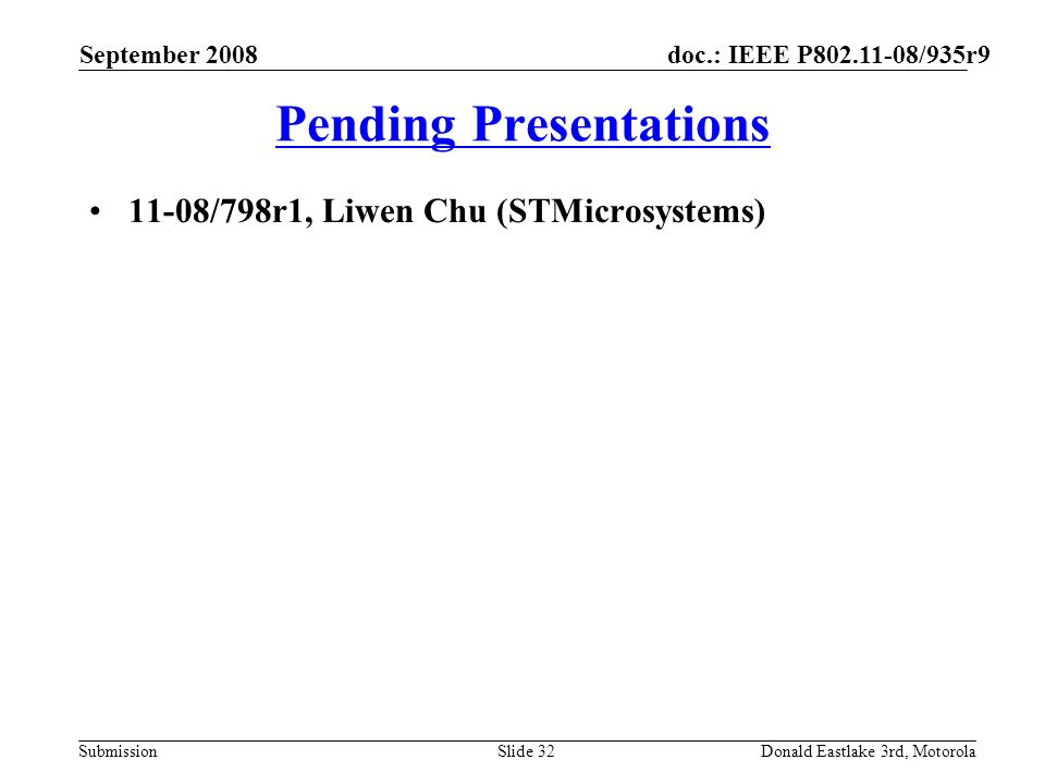 doc.: IEEE P802.11-08/935r9 Submission Pending Presentations 11-08/798r1, Liwen Chu (STMicrosystems) September 2008 Donald Eastlake 3rd, MotorolaSlide