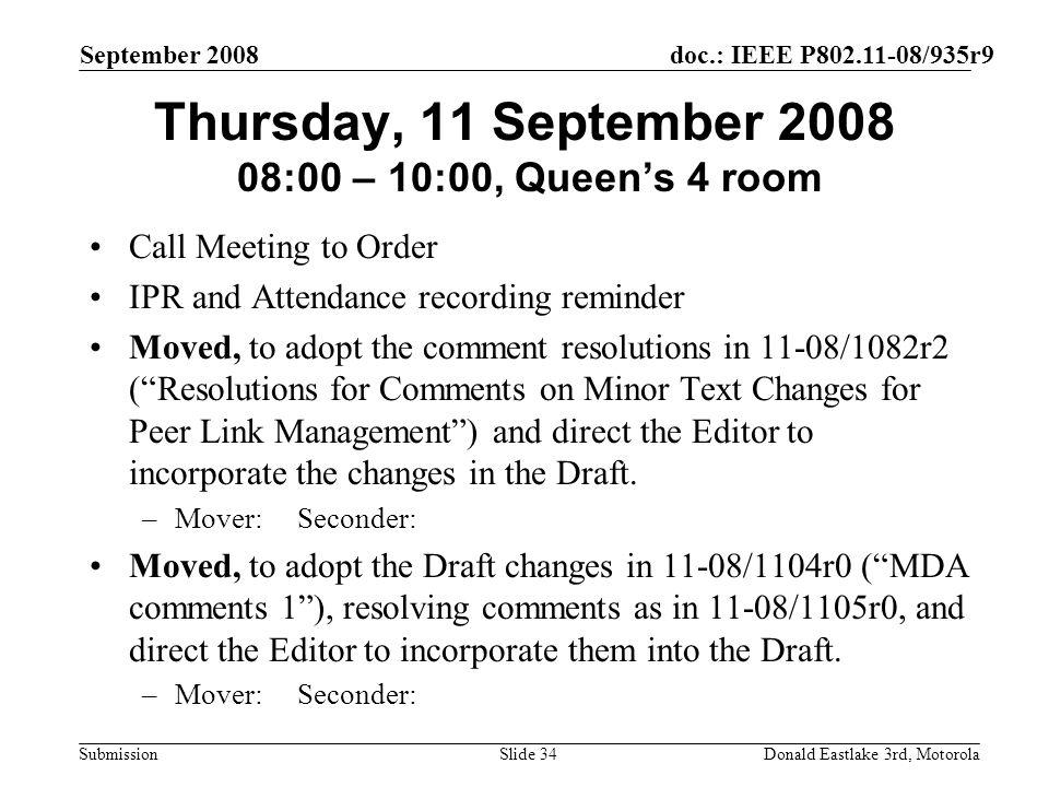 doc.: IEEE P802.11-08/935r9 Submission September 2008 Donald Eastlake 3rd, MotorolaSlide 34 Thursday, 11 September 2008 08:00 – 10:00, Queens 4 room C