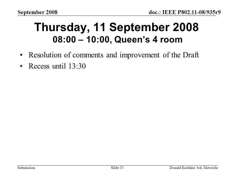 doc.: IEEE P802.11-08/935r9 Submission September 2008 Donald Eastlake 3rd, MotorolaSlide 35 Thursday, 11 September 2008 08:00 – 10:00, Queens 4 room R