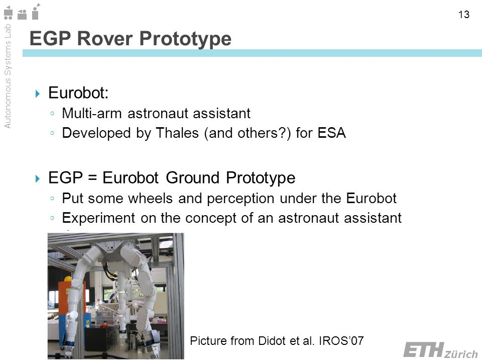 Zürich Autonomous Systems Lab 13 Eurobot: Multi-arm astronaut assistant Developed by Thales (and others ) for ESA EGP = Eurobot Ground Prototype Put some wheels and perception under the Eurobot Experiment on the concept of an astronaut assistant EGP Rover Prototype Picture from Didot et al.