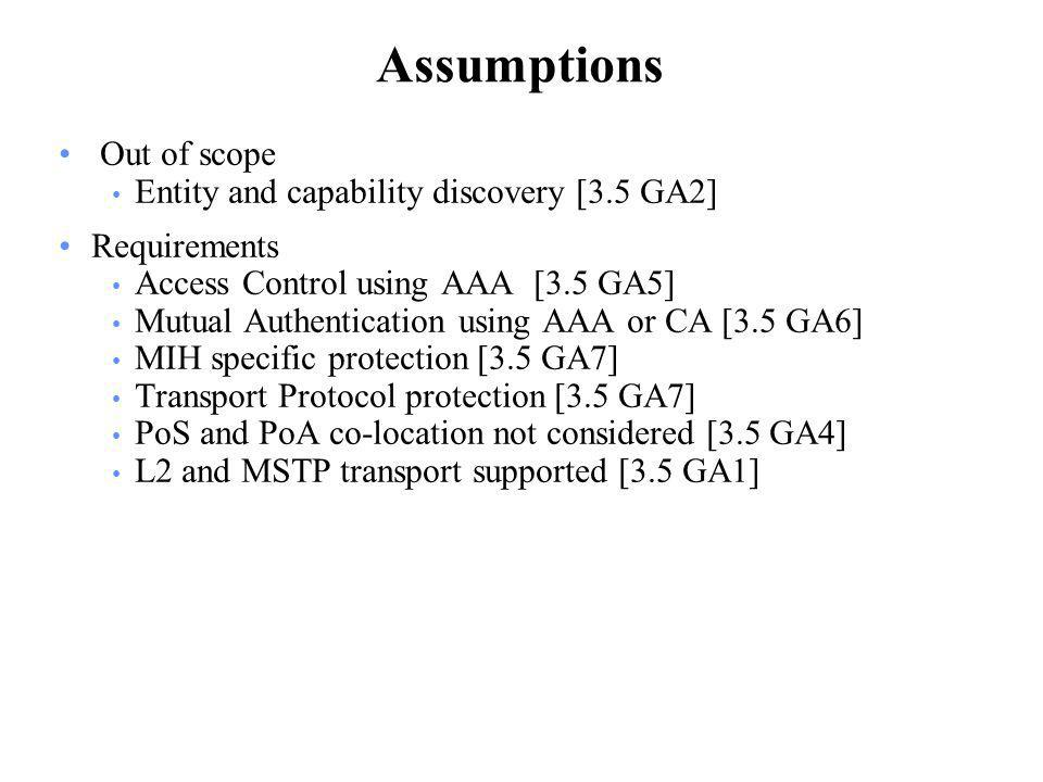 Assumptions Out of scope Entity and capability discovery [3.5 GA2] Requirements Access Control using AAA [3.5 GA5] Mutual Authentication using AAA or CA [3.5 GA6] MIH specific protection [3.5 GA7] Transport Protocol protection [3.5 GA7] PoS and PoA co-location not considered [3.5 GA4] L2 and MSTP transport supported [3.5 GA1]