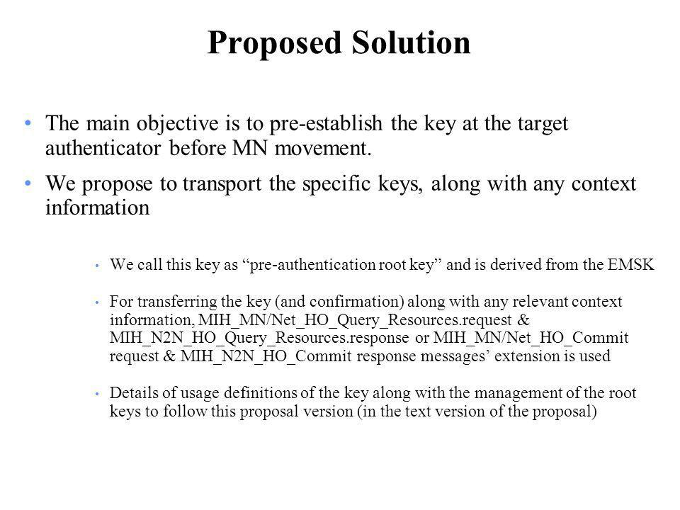 Proposed Solution The main objective is to pre-establish the key at the target authenticator before MN movement.