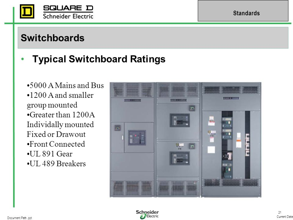 21 Current Date Standards Document Path..ppt Switchboards Typical Switchboard Ratings 5000 A Mains and Bus 1200 A and smaller group mounted Greater th