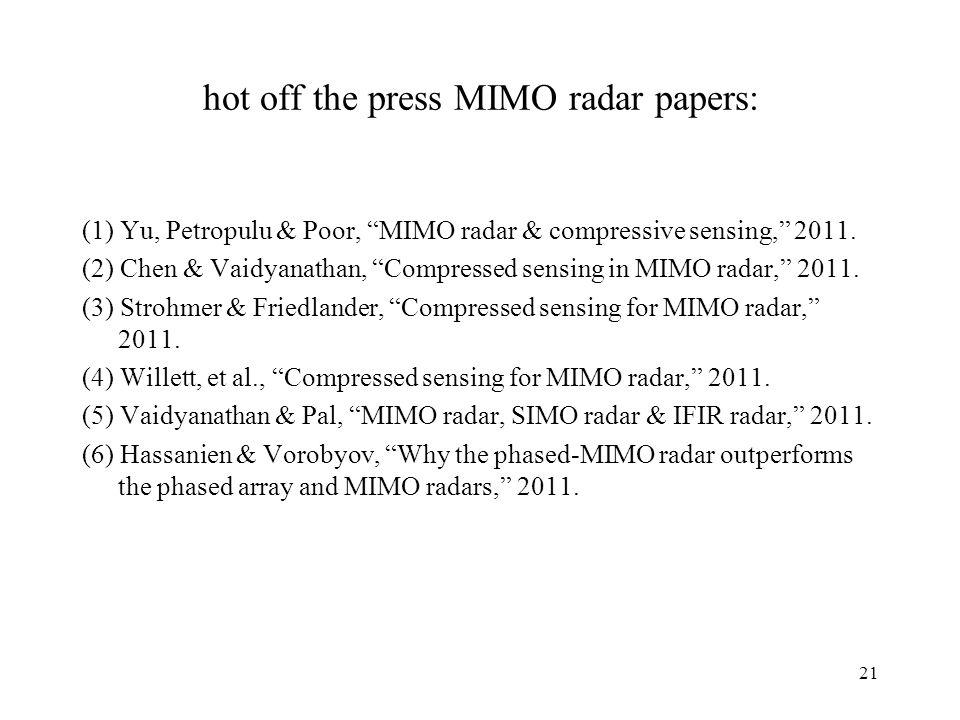 hot off the press MIMO radar papers: (1) Yu, Petropulu & Poor, MIMO radar & compressive sensing, 2011. (2) Chen & Vaidyanathan, Compressed sensing in
