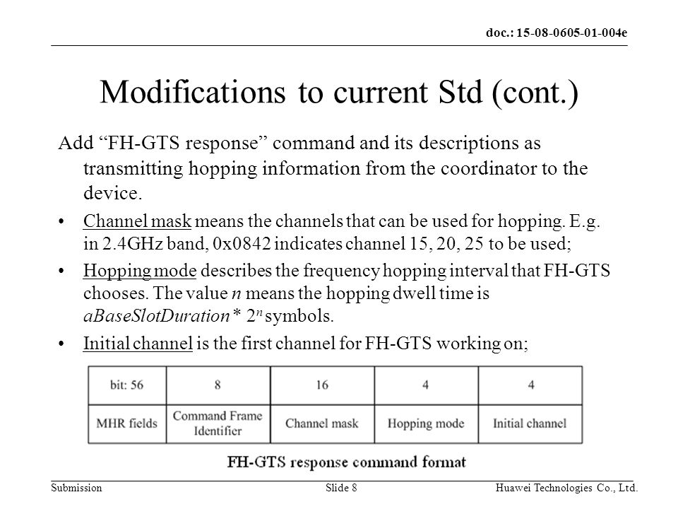 doc.: e Submission Huawei Technologies Co., Ltd.Slide 8 Modifications to current Std (cont.) Add FH-GTS response command and its descriptions as transmitting hopping information from the coordinator to the device.