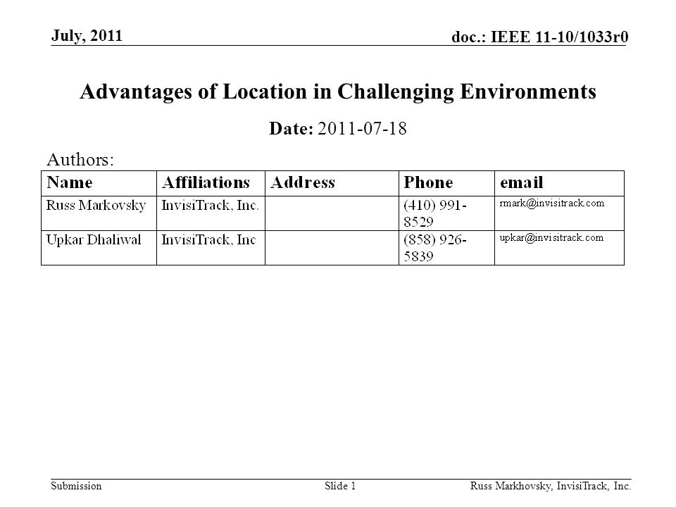 Submission doc.: IEEE 11-10/1033r0 July, 2011 Russ Markhovsky, InvisiTrack, Inc.Slide 12 UMBC Field
