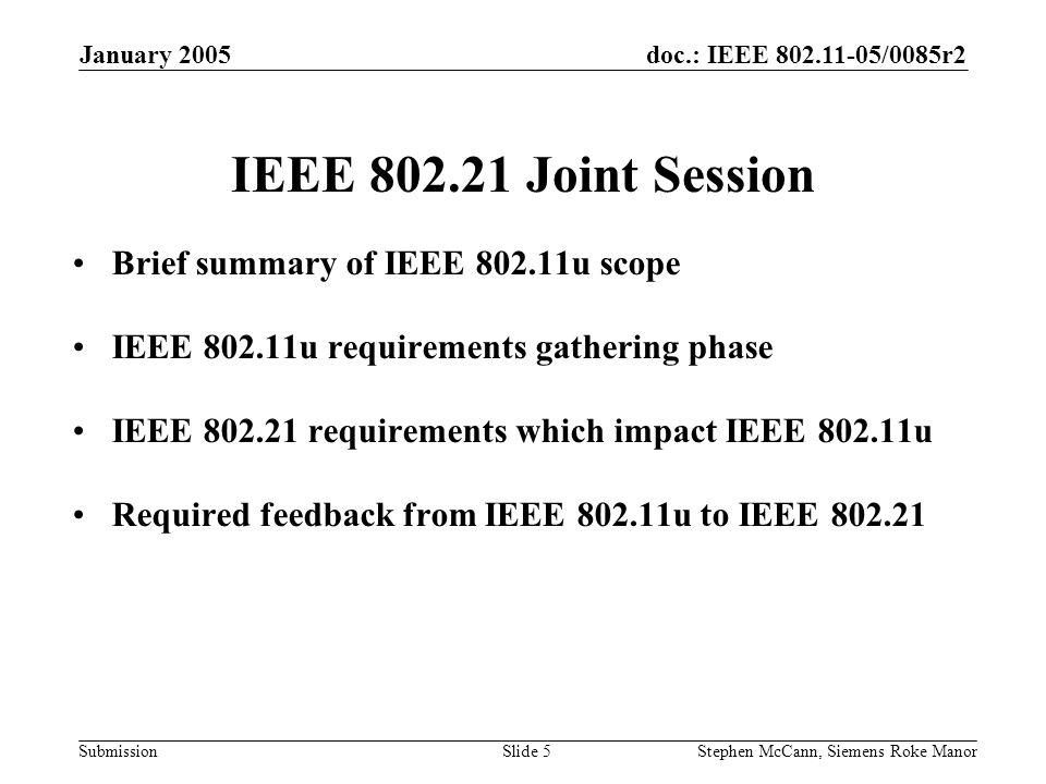 doc.: IEEE 802.11-05/0085r2 Submission January 2005 Stephen McCann, Siemens Roke ManorSlide 5 IEEE 802.21 Joint Session Brief summary of IEEE 802.11u
