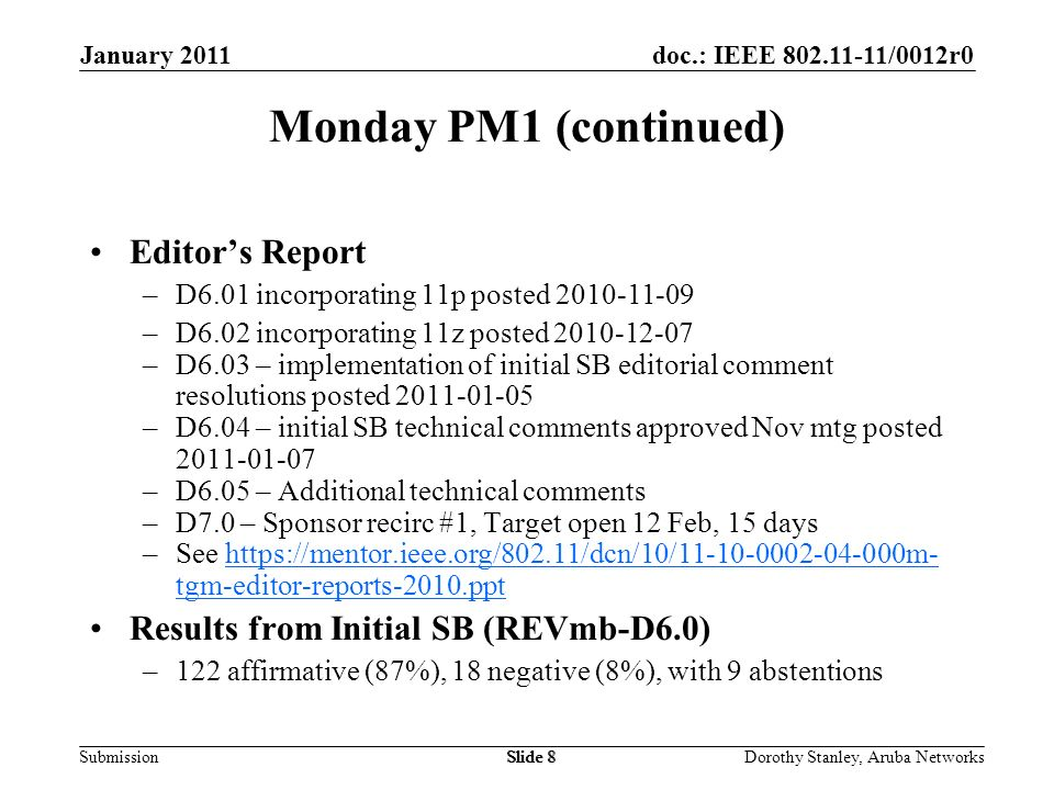 doc.: IEEE 802.11-11/0012r0 Submission January 2011 Dorothy Stanley, Aruba NetworksSlide 8 Monday PM1 (continued) Editors Report –D6.01 incorporating 11p posted 2010-11-09 –D6.02 incorporating 11z posted 2010-12-07 –D6.03 – implementation of initial SB editorial comment resolutions posted 2011-01-05 –D6.04 – initial SB technical comments approved Nov mtg posted 2011-01-07 –D6.05 – Additional technical comments –D7.0 – Sponsor recirc #1, Target open 12 Feb, 15 days –See https://mentor.ieee.org/802.11/dcn/10/11-10-0002-04-000m- tgm-editor-reports-2010.ppthttps://mentor.ieee.org/802.11/dcn/10/11-10-0002-04-000m- tgm-editor-reports-2010.ppt Results from Initial SB (REVmb-D6.0) –122 affirmative (87%), 18 negative (8%), with 9 abstentions