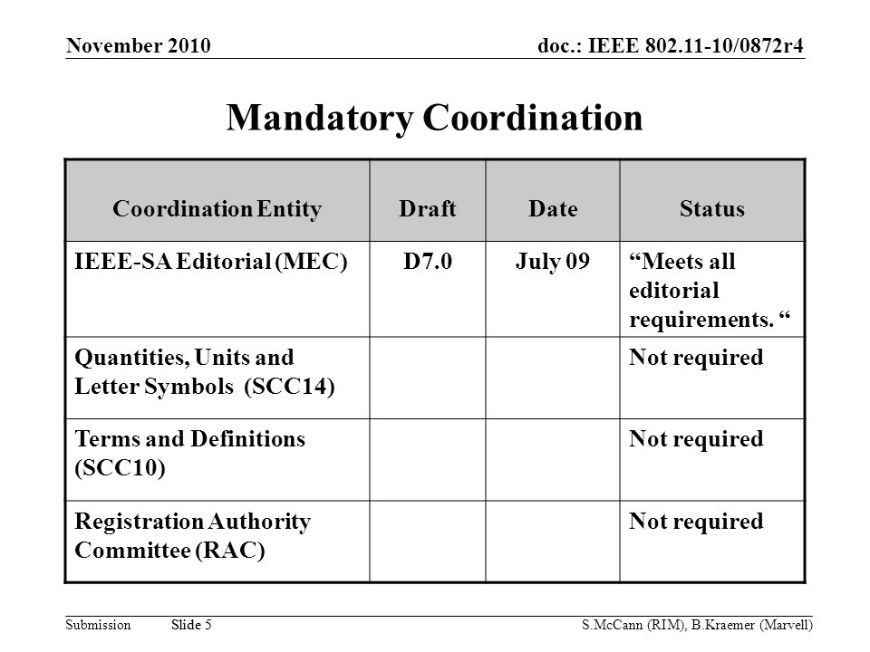 doc.: IEEE /0872r4 Submission November 2010 S.McCann (RIM), B.Kraemer (Marvell) Slide 5 Mandatory Coordination Coordination EntityDraftDateStatus IEEE-SA Editorial (MEC)D7.0July 09Meets all editorial requirements.