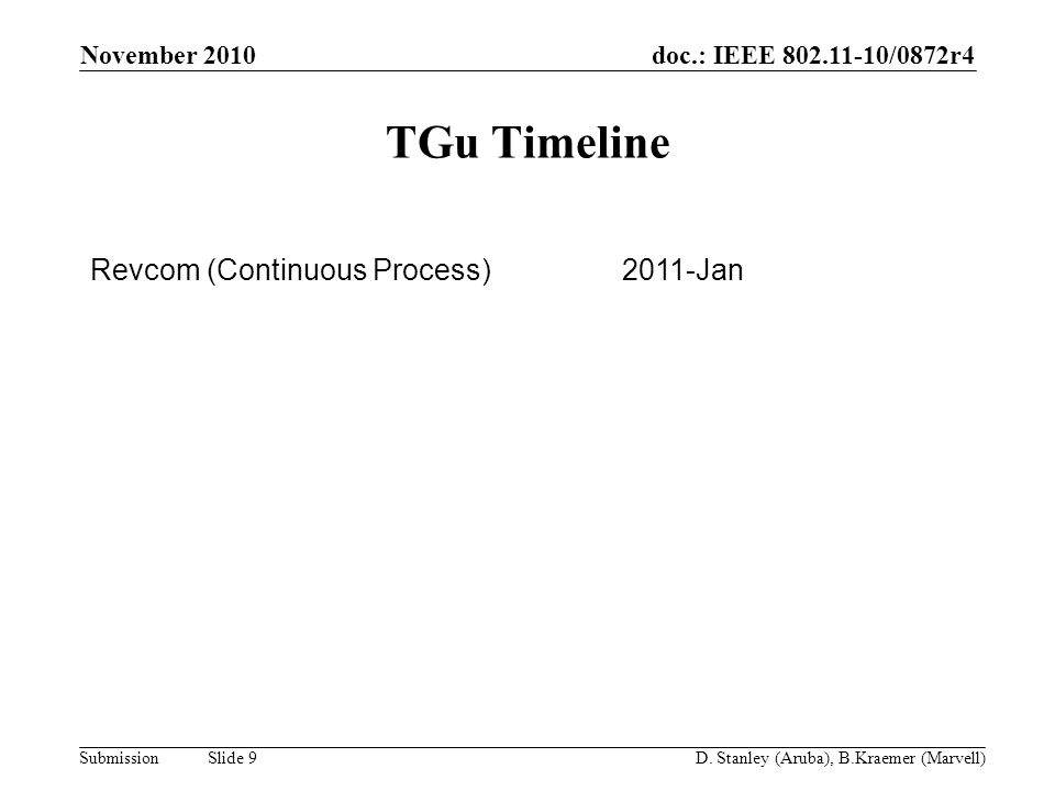 doc.: IEEE 802.11-10/0872r4 Submission November 2010 D. Stanley (Aruba), B.Kraemer (Marvell) Slide 9 TGu Timeline Revcom (Continuous Process)2011-Jan