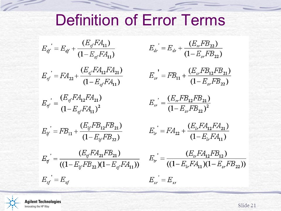 Slide 21 Definition of Error Terms