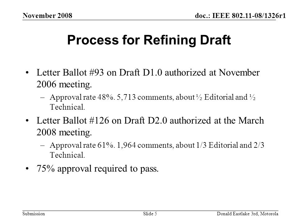 doc.: IEEE 802.11-08/1326r1 Submission November 2008 Donald Eastlake 3rd, MotorolaSlide 5 Process for Refining Draft Letter Ballot #93 on Draft D1.0 authorized at November 2006 meeting.