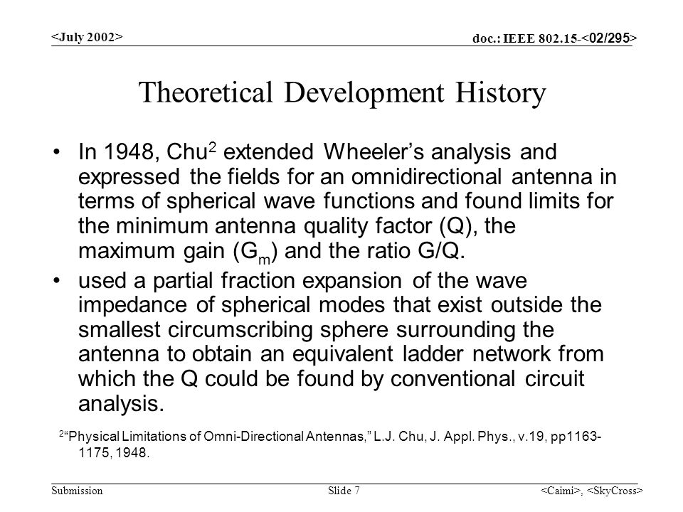 doc.: IEEE 802.15- Submission, Slide 7 Theoretical Development History In 1948, Chu 2 extended Wheelers analysis and expressed the fields for an omnid
