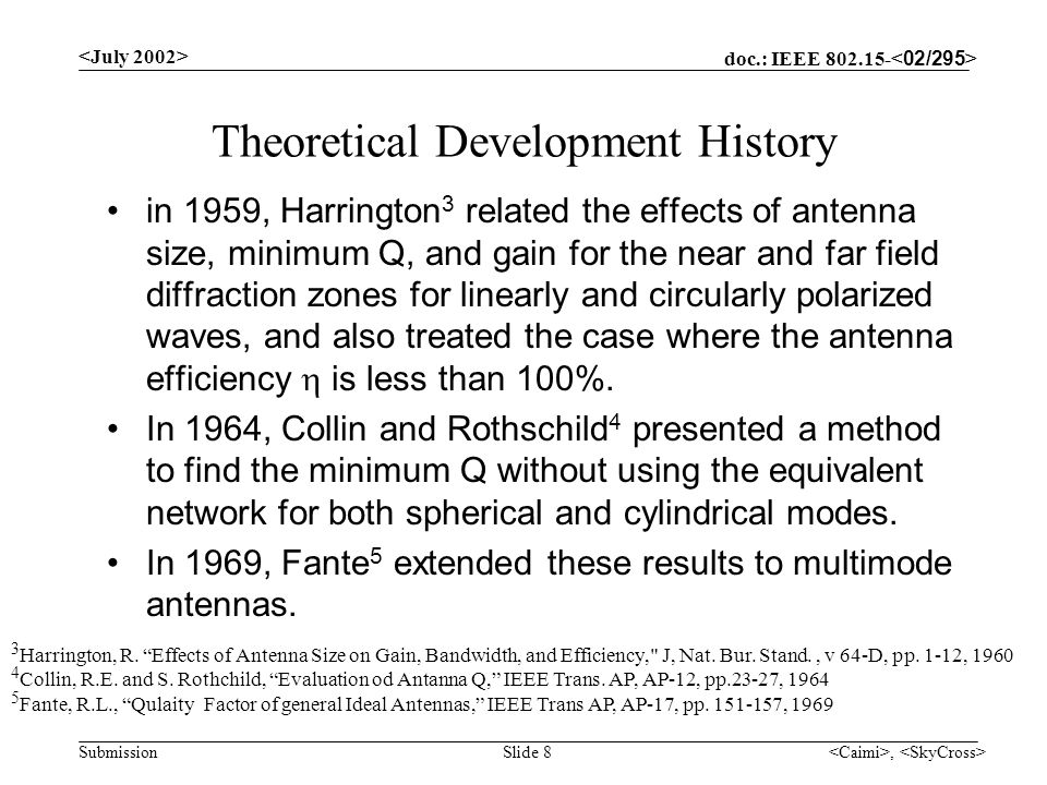 doc.: IEEE 802.15- Submission, Slide 8 Theoretical Development History in 1959, Harrington 3 related the effects of antenna size, minimum Q, and gain for the near and far field diffraction zones for linearly and circularly polarized waves, and also treated the case where the antenna efficiency is less than 100%.