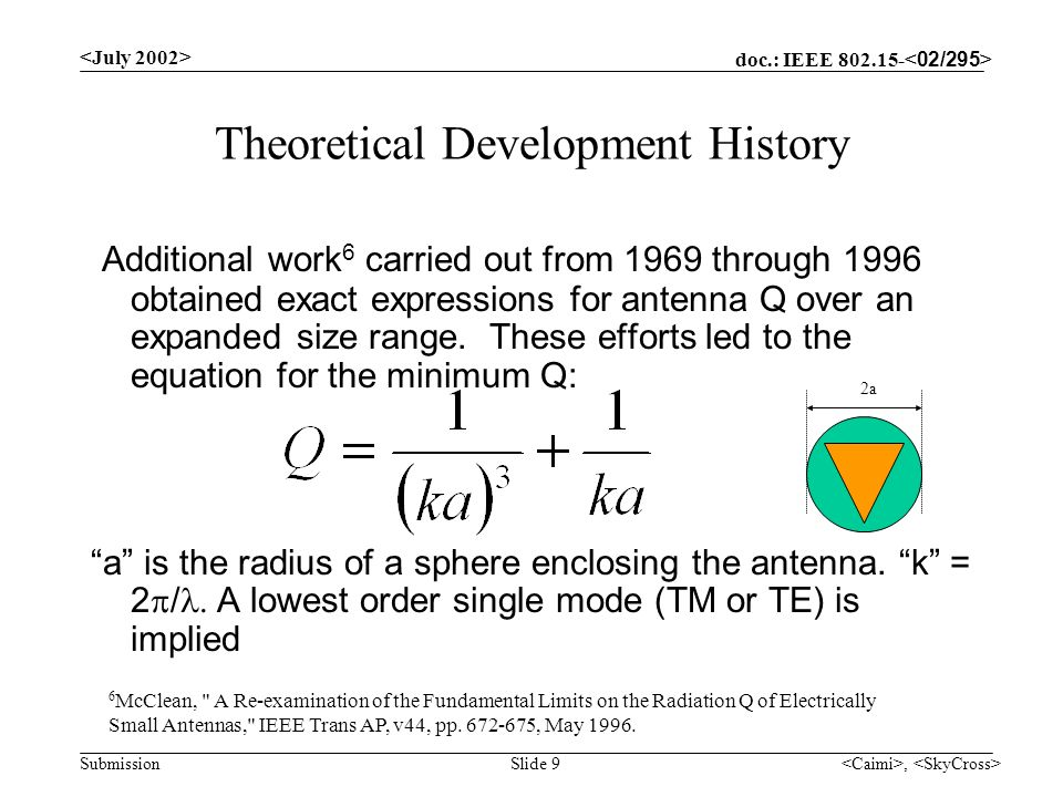 doc.: IEEE 802.15- Submission, Slide 9 Theoretical Development History Additional work 6 carried out from 1969 through 1996 obtained exact expressions