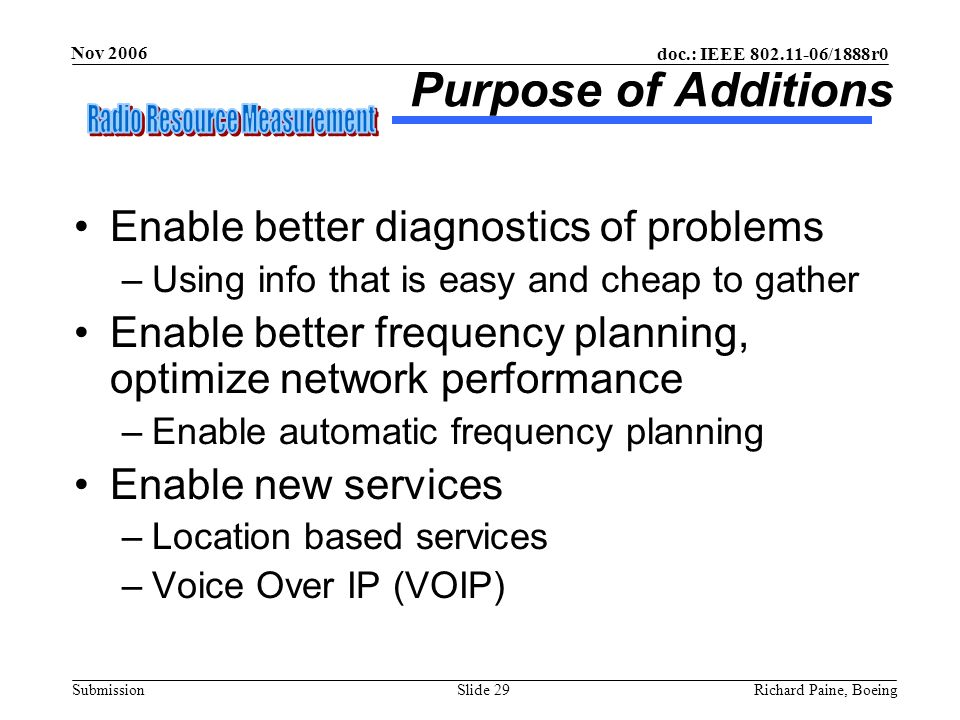 doc.: IEEE 802.11-06/1888r0 Submission Nov 2006 Richard Paine, BoeingSlide 29 Purpose of Additions Enable better diagnostics of problems –Using info t