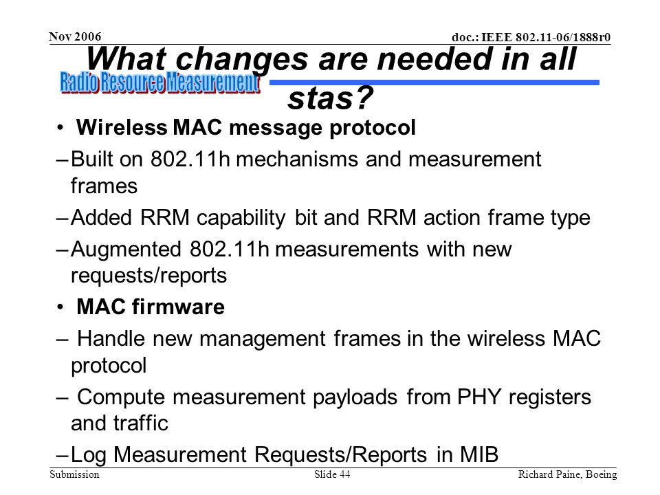 doc.: IEEE 802.11-06/1888r0 Submission Nov 2006 Richard Paine, BoeingSlide 44 What changes are needed in all stas? Wireless MAC message protocol –Buil